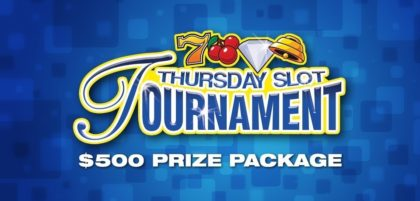Thursday slot tournament with $500 prize package