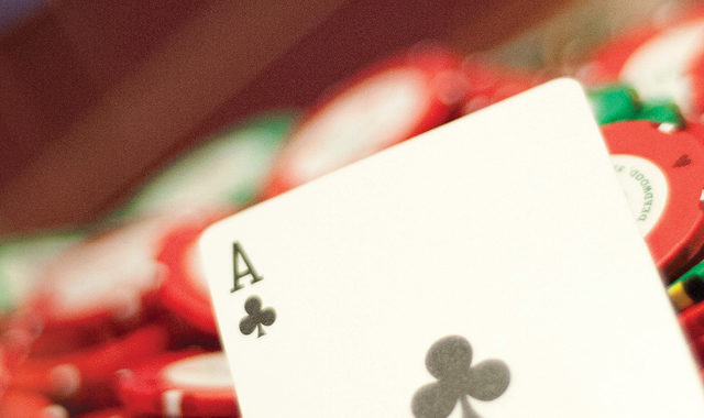 Ace of Spades on poker chips
