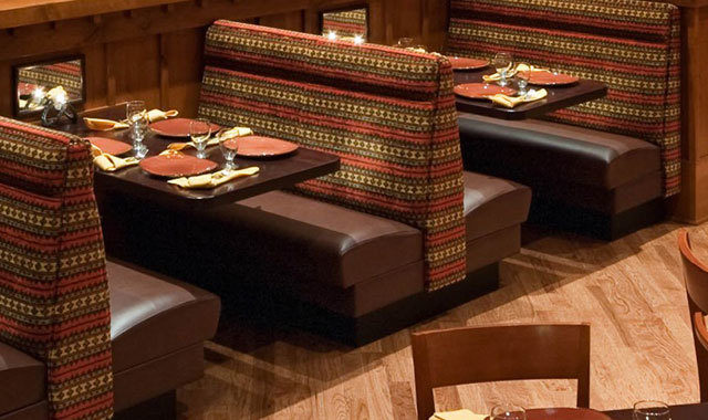 Booths in the restaurant